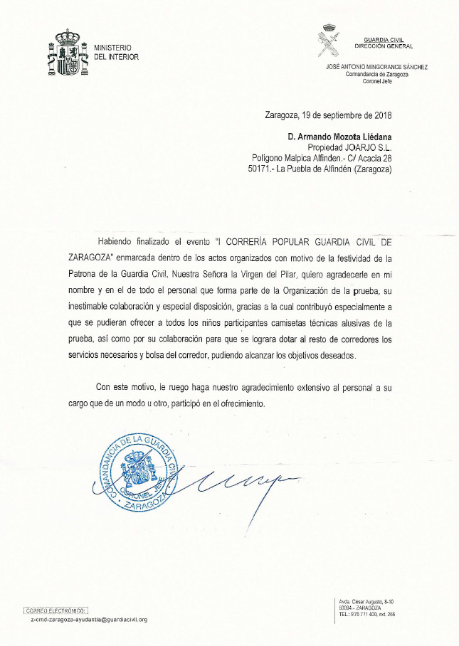 Carta agradecimiento Correría Popular Guardia Civil