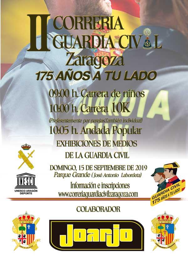Cartel Carrera Popular 10k Zaragoza Guardia Civil
